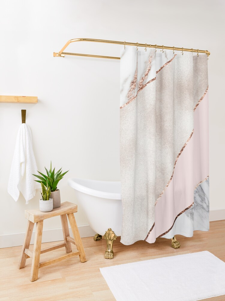 Alternate view of Spliced mixed rose gold marble Shower Curtain