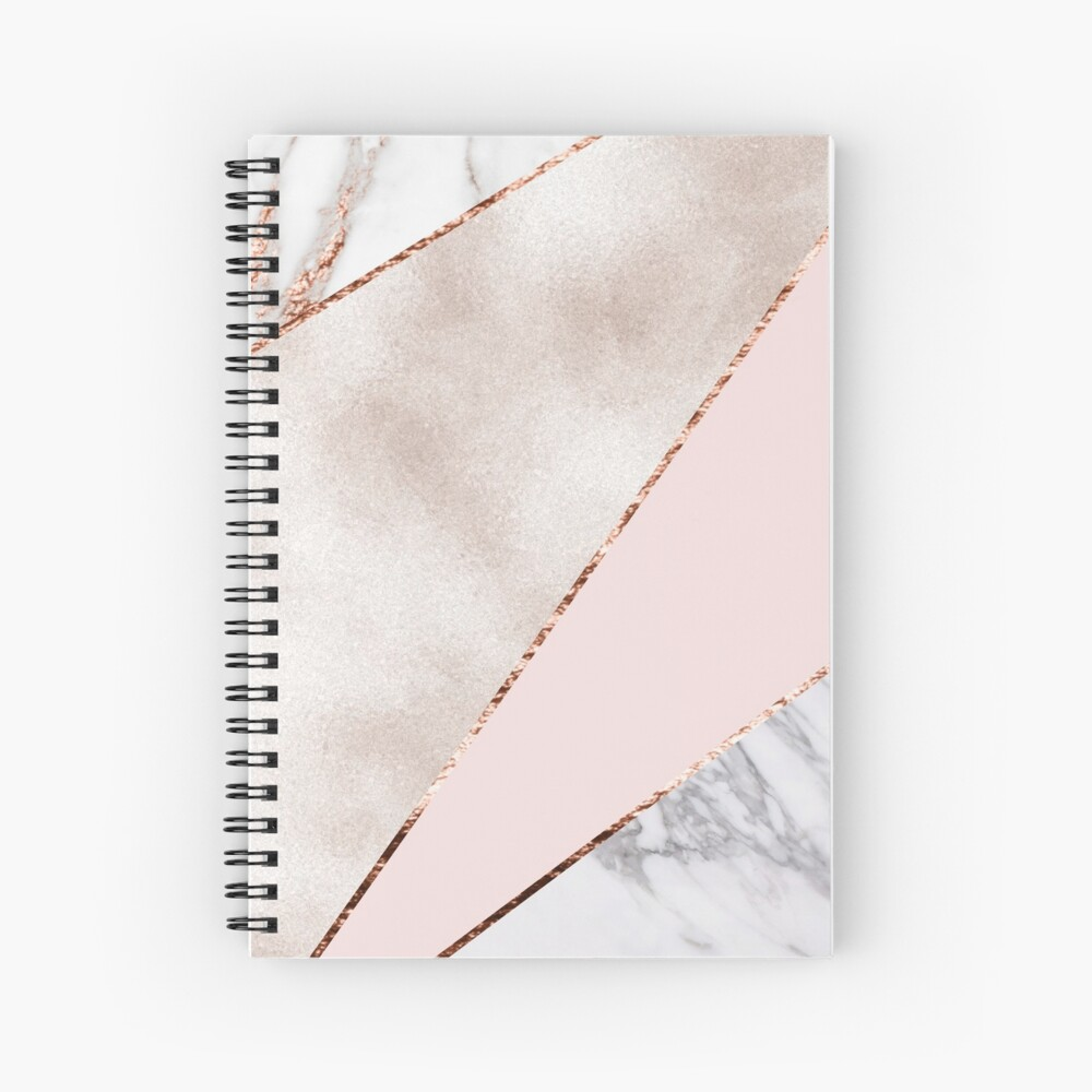 Spliced mixed rose gold marble Spiral Notebook