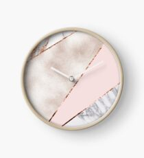 Spliced mixed rose gold marble Clock
