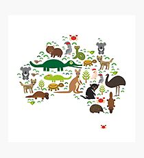 Australian animal map  Photographic Print