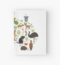Australian animal map  Hardcover Journal