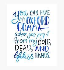 Oxford Comma Grammar Joke Blue Watercolour Typography Photographic Print