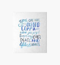 Oxford Comma Grammar Joke Blue Watercolour Typography Art Board Print