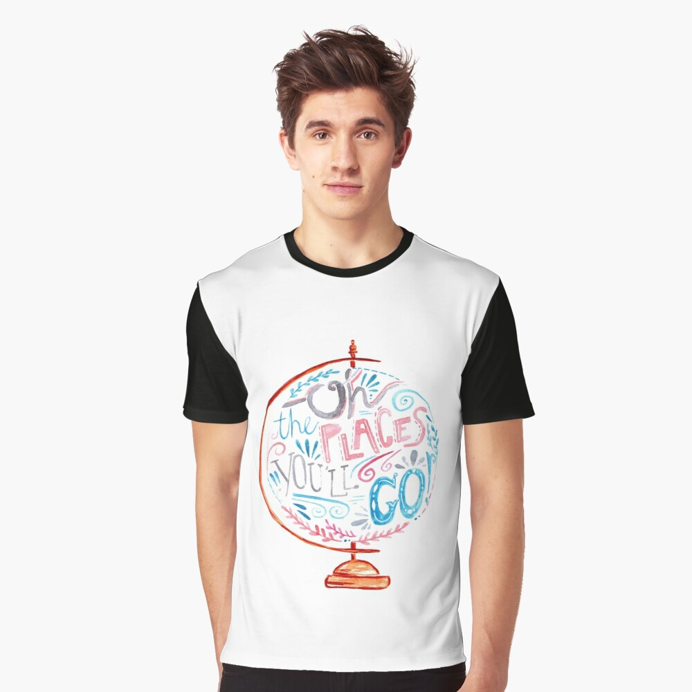 Oh The Places You'll Go - Typography Vintage Globe in Pink Blue Grey Graphic T-Shirt