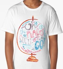 Oh The Places You'll Go - Typography Vintage Globe in Pink Blue Grey Long T-Shirt
