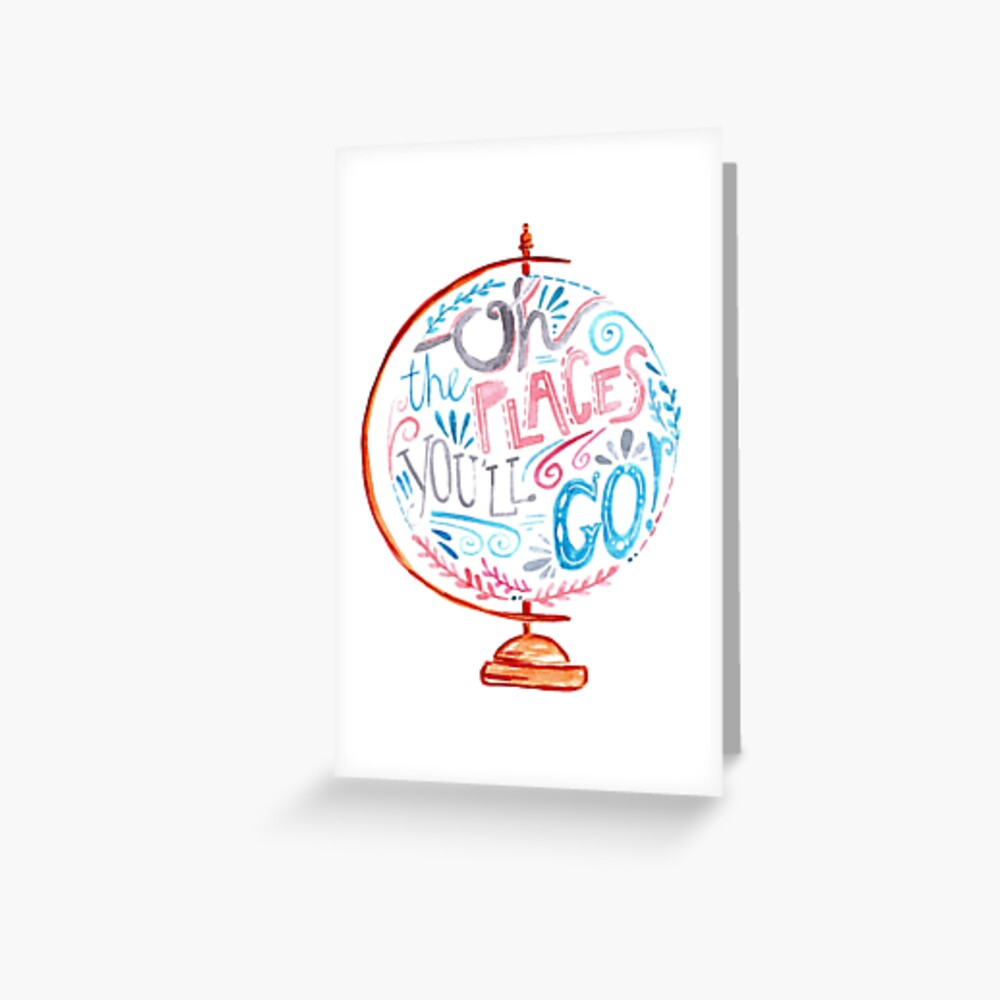 Oh The Places You'll Go - Typography Vintage Globe in Pink Blue Grey Greeting Card