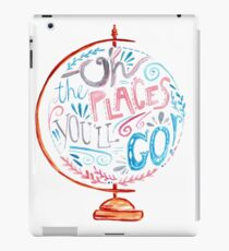 Oh The Places You'll Go - Typography Vintage Globe in Pink Blue Grey iPad Case/Skin