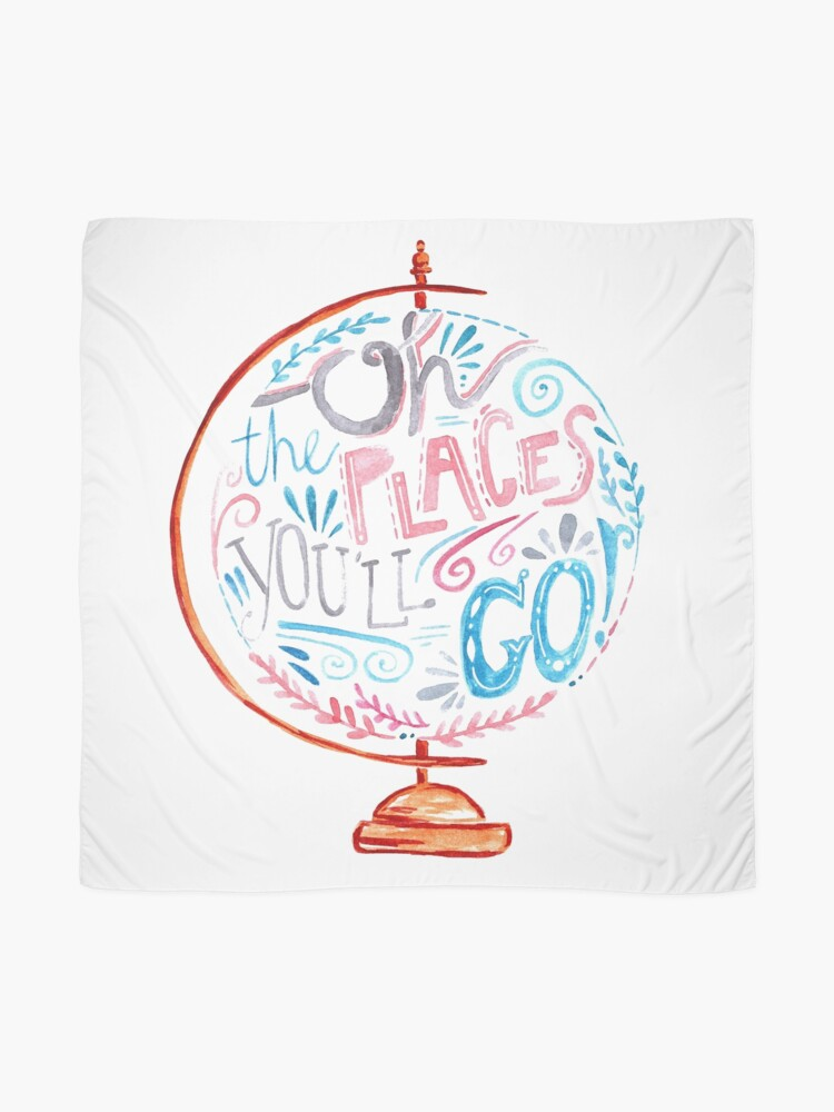 Alternate view of Oh The Places You'll Go - Typography Vintage Globe in Pink Blue Grey Scarf