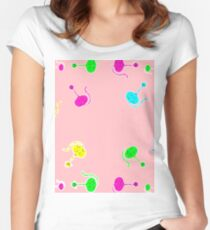 cat cartoon graphic color Women's Fitted Scoop T-Shirt