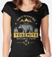 Yosemite National Park California T shirt - Vintage Bear Women's Fitted Scoop T-Shirt