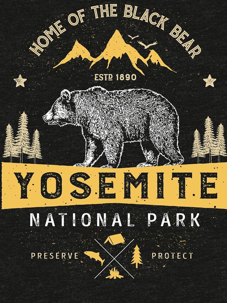 Yosemite National Park California T shirt - Vintage Bear by LiqueGifts