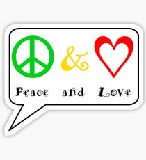 Peace and Love on white Sticker