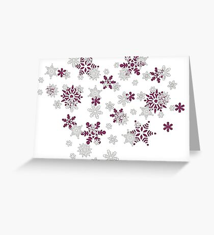 Heart Filled With Pink And White Snowflakes  Greeting Card