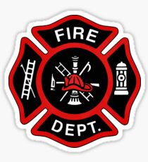 Red Fire Department Badge Sticker