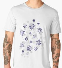 Heart Filled With Blue And White Snowflakes Men's Premium T-Shirt