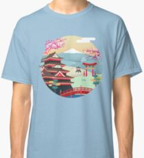 Japan, Japanese house, flower of cherry-tree, spring, stations, colors, design, modern,  Classic T-Shirt