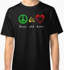 Peace and Love on black Classic T-Shirt