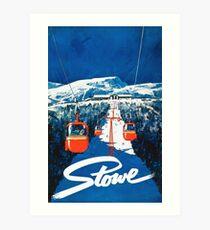 Stowe vertmont vintage sking ski travel poster sticker Art Print
