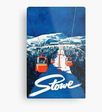 Stowe vertmont vintage sking ski travel poster sticker Metal Print
