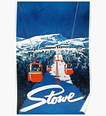 Stowe vertmont vintage sking ski travel poster sticker Poster