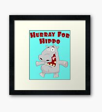 Toddlers & Kids Happy Hippo T Shirt Framed Print