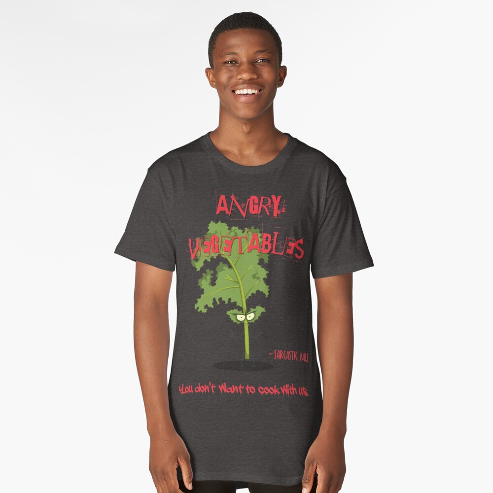 Sarcastic Kale Angry Vegetables - Eat Us If You Dare! Long T-Shirt Front