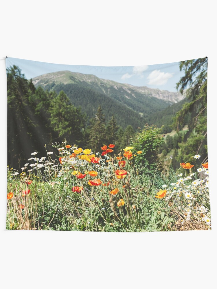 Alternate view of Mountain garden Tapestry
