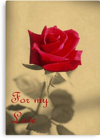 For My Love Vintage Valentine Greeting With Red Rose by taiche