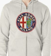 Antique Alfa-Romeo Classic Car Sign Zipped Hoodie