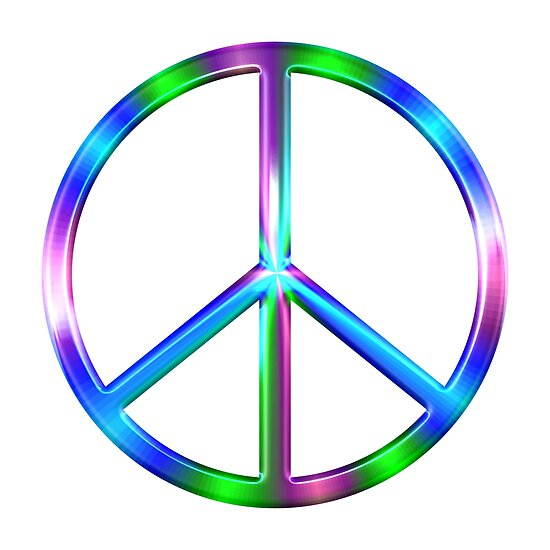 Shiny Colorful Peace Sign Posters By Cooldoodles Redbubble