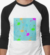 cats cartoon graphic color Men's Baseball ¾ T-Shirt