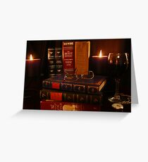 Books and Wine by Candlelight Greeting Card
