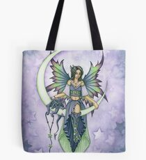 Fairy and Dragon Sitting on the Moon Tote Bag