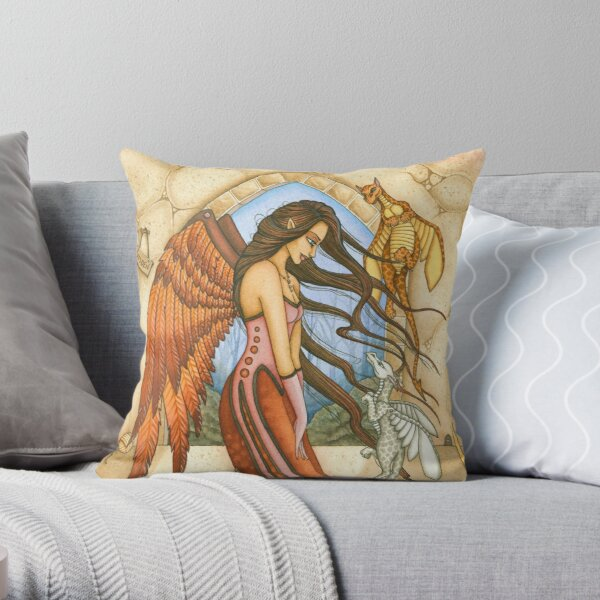 Autumn Angel with Dragons Throw Pillow