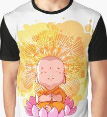 Little meditating monk on the lotus. Sunny day. Cartoon Buddha Graphic T-Shirt