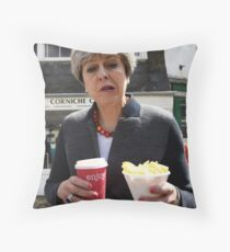 Theresa May - Coffee and Chips in Cornwall Throw Pillow