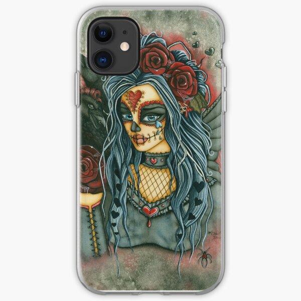 Red Rose Sugar Skull Face iPhone Soft Case