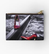 Kick Off Your Shoes Red high heel shoes on railroad tracks Studio Pouch