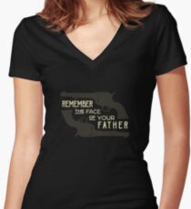 Remember the Face of Your Father Women's Fitted V-Neck T-Shirt