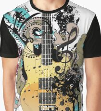 Guitar with floral Graphic T-Shirt