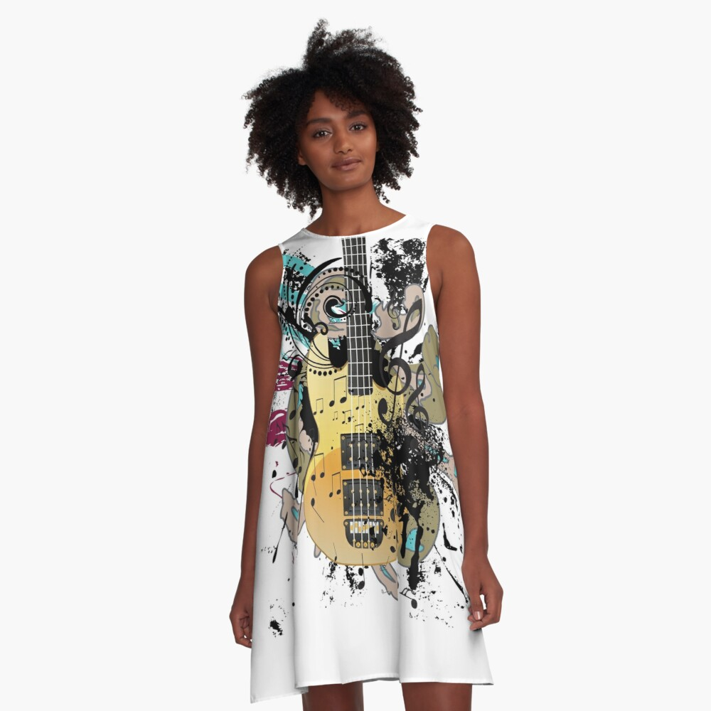 Guitar with floral A-Line Dress Front