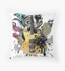 Guitar with floral Throw Pillow
