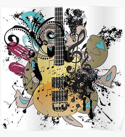 Gitarre mit Blumen Poster