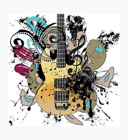 Gitarre mit Blumen Fotodruck