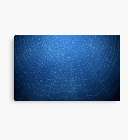 Water drops on a spider web (Blue) Canvas Print