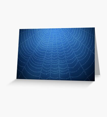 Water drops on a spider web (Blue) Greeting Card
