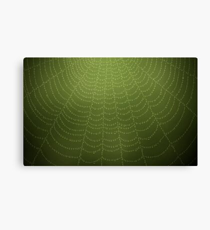 Water drops on a spider web (Green) Canvas Print