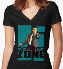 archer the danger zone Women's Fitted V-Neck T-Shirt