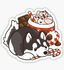 Peppermint Mocha Husky Sticker