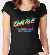 DARE 90s drugs tshirt shirt Women's Fitted Scoop T-Shirt